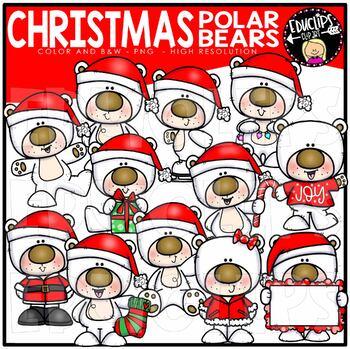 Christmas Polar Bears Clip Art Bundle {Educlips Clipart}