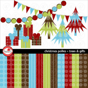Christmas Polka Trees Gifts Clipart and Digital Paper Set by Poppydreamz
