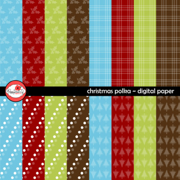 Christmas Polka Coordinating Digital Paper by Poppydreamz