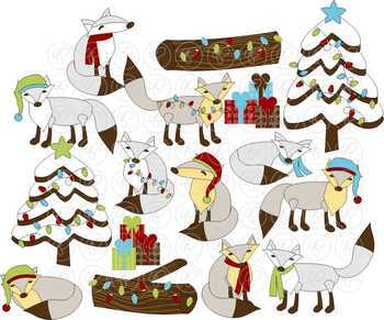 Christmas Polka Foxes Clipart by Poppydreamz
