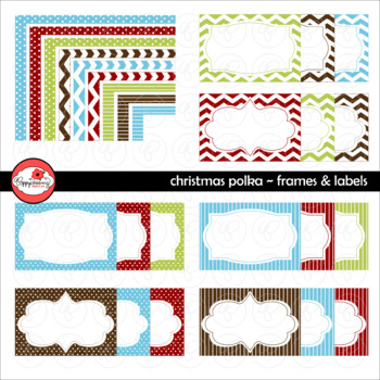 Christmas Polka Frames and Labels Digital Borders Clipart by Poppydreamz