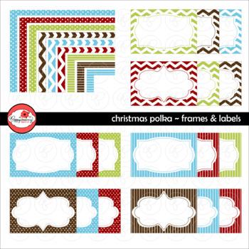 Christmas Polka Frames and Labels Digital Borders Clipart