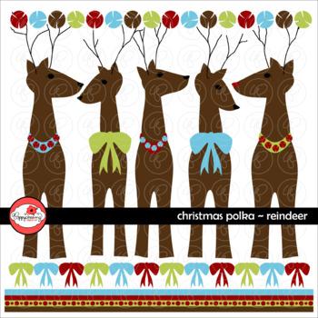 Christmas Polka Reindeer Clipart by Poppydreamz