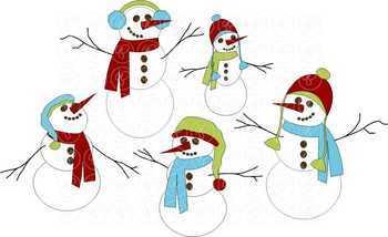 Christmas Polka Snowmen Clipart by Poppydreamz