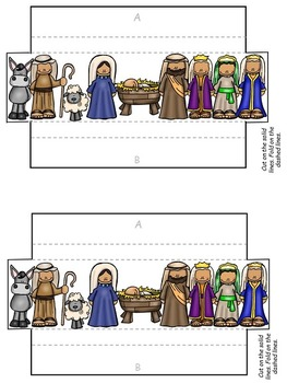 Christmas (Religious) Pop-Up and 2D Worksheets