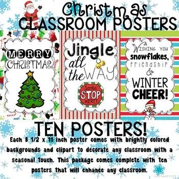 Christmas Posters.Christmas Poster Set For The Classroom
