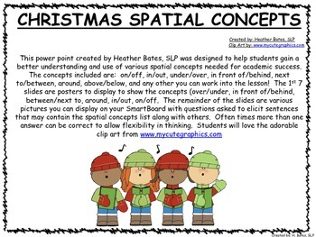 Christmas Posters and Interactive White Board slides for Positional Terms