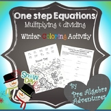 Solving One Step Equations Activity {Math Coloring Pages Christmas}{Pre Algebra}