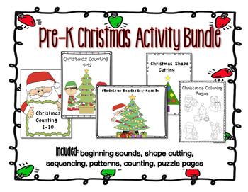 Christmas Pre-K Kindergarten Activities Bundle