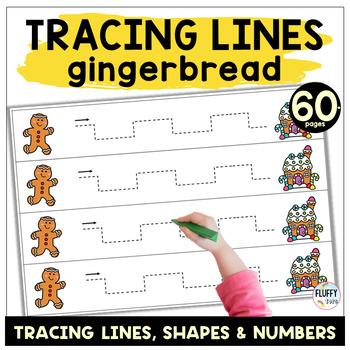 Christmas Pre-writing Tracing : Gingerbread Man Tracing Lines Pre-Writing
