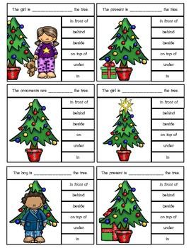 Christmas Preposition Clip Cards
