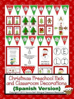 Christmas Preschool Pack and Classroom Decorations {Spanish Version}