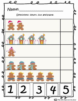 Christmas Preschool and Kindergarten Math Worksheets- NO PREP