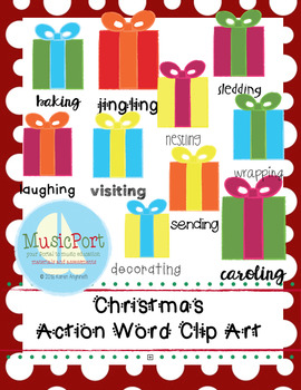 Christmas Present Action Words Clip Art