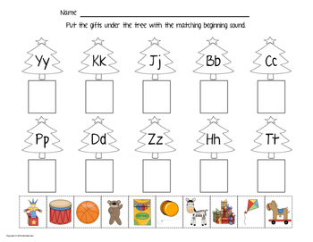 "Beginning Sound Worksheets - ""Christmas Present Match"""
