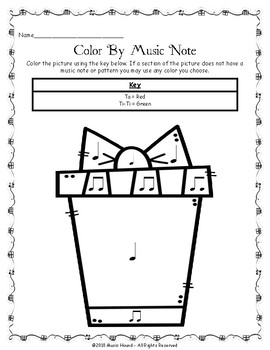 Christmas Present Color By Music Note Rhythm Coloring - Quarter/Eighth Note