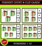 Christmas Present Count And Clip Cards 1-10.