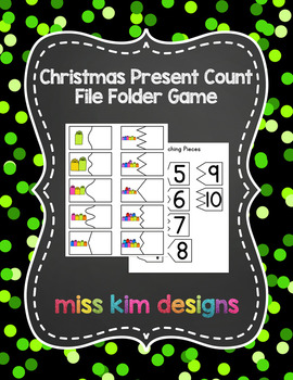 Christmas Present Count File Folder Game for Early Childhood Special Education