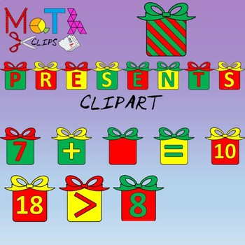 Christmas Presents Clipart with Numbers