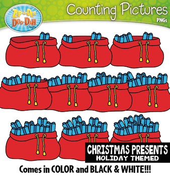 Christmas Presents Counting Pictures Clipart {Zip-A-Dee-Doo-Dah Designs}