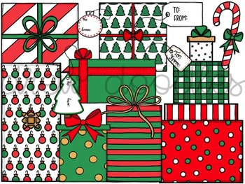 Christmas Presents Digital Clip Art Set