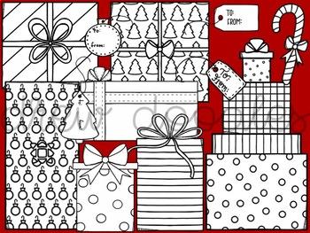 Christmas Presents Digital Clip Art Set- Black Line Version