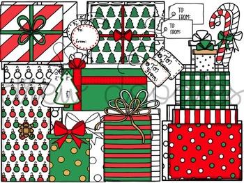 Christmas Presents Digital Clip Art Set- Color and Black Line COMBO