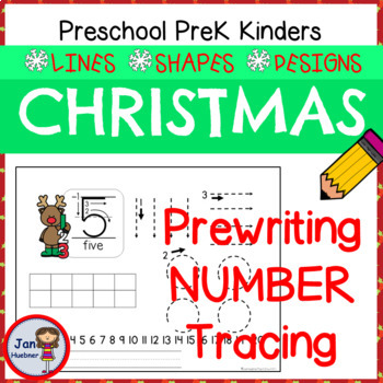 Christmas Prewriting Numbers - Tracing Lines and Shapes