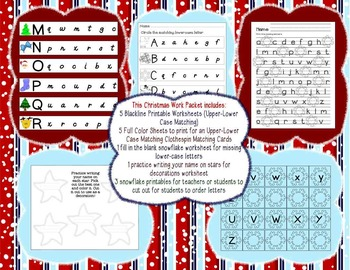 Christmas Primary Upper-Lower Case Letter Writing Packet
