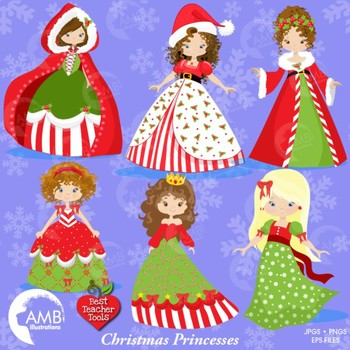 Christmas Princess Clipart, Christmas Princesses Mrs Claus Clipart, AMB-993