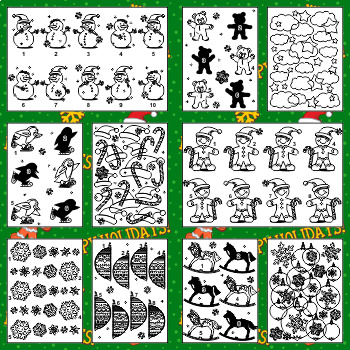 Christmas Printable Activity Pages, Green Set , CU