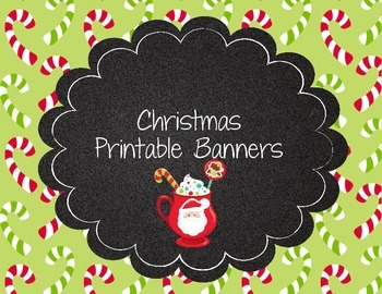 Christmas Printable Banner Hot Cocoa Candy Cane Santa Claus