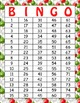 Christmas Printable Bingo Game - 100 players - Red Green Ornaments Bingo CH004