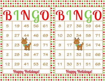 Christmas Printable Bingo Game - 100 players - Red Green Rudolph Bingo CH014