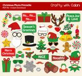 Christmas Printable Photo Booth Prop, 50 props for Christm