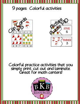 Christmas Activities ● No Prep ● Worksheets ● Number Puzzles ● Math Centers