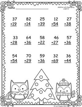 Christmas Printables- Addition & Subtraction with Regrouping