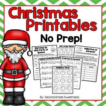 Christmas Printables: ELA and Math NO PREP Printables
