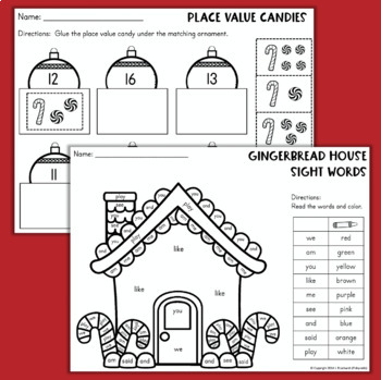 Christmas No-Prep Printables for Kindergarten Math and Reading