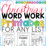 Christmas Printables for any Word List