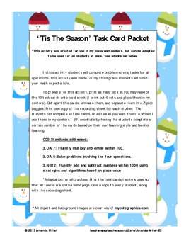 Christmas Problem Solving Task Cards