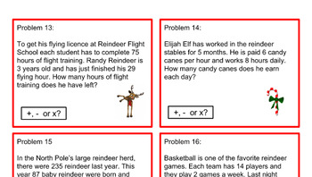 Christmas Problem Task Cards - Grade 3 or 4