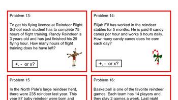 Christmas Problem Task Cards - Grade 3 or 4