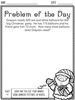 Christmas Problem of the Day (3rd Grade)