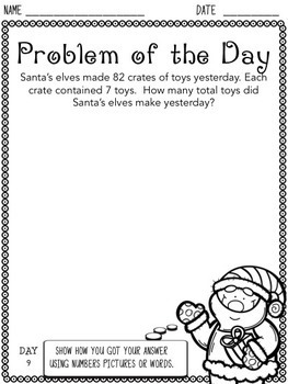 Christmas Word Problem of the Day for 4th Grade