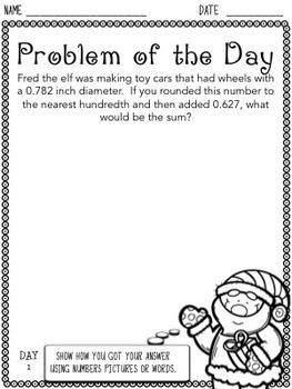 Christmas Problem of the Day (5th Grade)