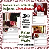Christmas Narrative Writing Prompts: Pictures, Graphic Organizers, Rubric
