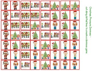 Christmas Pronouns Pack - Cariboo, Snakes & Ladders, Dominoes