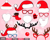 Christmas Props Party Booth clipart Santa Claus beard reindeer hat horns -10p