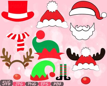 Christmas Props Party Booth clipart Santa Claus beard reindeer hat horns -5p
